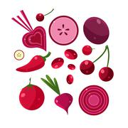 Fresh Red Fruits And Vegetables Set Stock Illustration