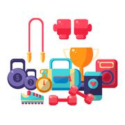 Gym Inventory Items Collection - stock illustration