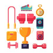 Sports Inventory Items Set - stock illustration