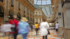 Milan 4k Time Lapse. Vittorio Emanuele Gallery. Side Stock Footage