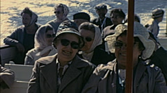 Majorca 1969: people during a boat trip Stock Footage