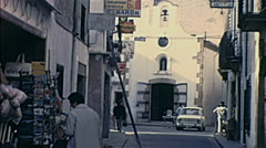 Majorca 1969: people walking in the street Stock Footage
