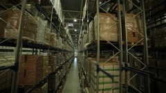 Huge warehouse with shelves and merchandise - stock footage