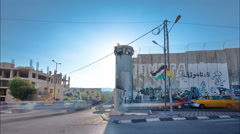 The Israeli West Bank barrier is a separation barrier timelapse hyperlapse - stock footage