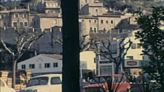 Majorca 1969: people walking in a small town Stock Footage