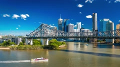 Brisbane Skyline with Story Bridge, river and a ferry Stock Footage