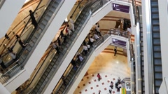 Escalator 4k shopping mall crowd people buy shop center centre sales time lapse Stock Footage