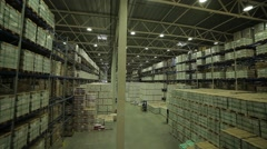 Huge warehouse with shelves and merchandise Stock Footage