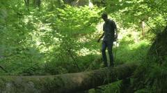 Treetrunk Walking in Nature Beautiful walking Man balancing 4K Ultra HD - stock footage