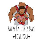 Fathers day card. cartoon vector illustration. father with daughter. hand drawn Stock Illustration