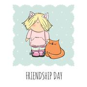 cute girl with cat doodle illustration. friendship day - stock illustration