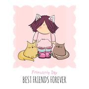 Cute girl with cats doodle illustration. friendship day Stock Illustration