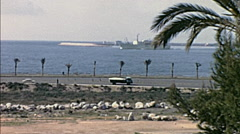 Palma, Majorca 1969: traffic in front of the sea Stock Footage
