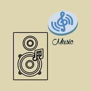 Music design. speaker icon.  White background , vector - stock illustration