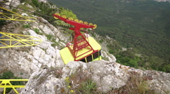 The cable car in Crimea Ai-Petri on a background of mountains covered with Stock Footage