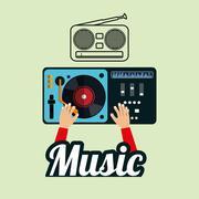 Music design. dj icon.  White background , vector - stock illustration