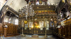 Church of the Nativity interior with hall colonnade, altar and icon lamps Stock Footage