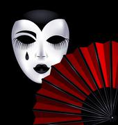 black-white mask and red fan - stock illustration
