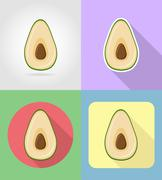 avocado fruits flat set icons with the shadow vector illustration - stock illustration