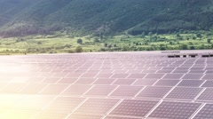 Renewable Energy Electricity Solar Panels Farm Field In The Mountains Beautiful Stock Footage