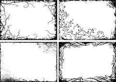 Set of four black floral frames in grunge style Stock Illustration