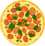 Colorful fresh pizza with salami slices of tomato, olive and leaves of basil. - stock illustration