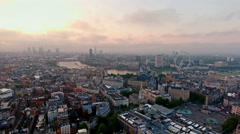 Aerial View Of Beautiful Sunrise at The City of London Skyline Iconic Landmarks Stock Footage