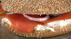 Bagels with Salmon (not loopable; 4K) Stock Footage