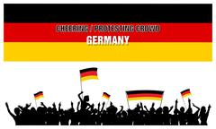Cheering or Protesting Crowd Germany - stock illustration