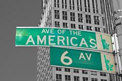 Signs for Sixth Avenue in NYC - stock photo
