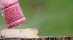 Soap bottle gun shot in native slow motion scene on green background Stock Footage