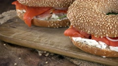 Not loopable Bagels with Salmon footage (4K) Stock Footage