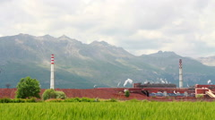 Industrial harvest wheat Stock Footage