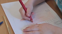 Kids drawing at kindergarten by pencils Stock Footage