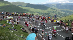 COL DE PEYRESOURDE,FRANCE-JUL 23, 2014: The Peloton - Tour de France 2014 Stock Footage