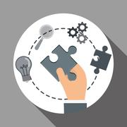 Solution icon design , vector illustration Stock Illustration