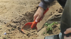 Boys playing in sandbox in kindergarden Stock Footage