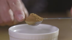 Heaped tablespoon of chocolate powder Stock Footage