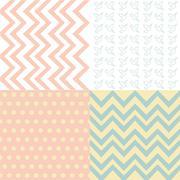 Set of 4 background pattern,geometric seamless fabric pattern Stock Illustration