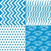 set of 4 background pattern,geometric seamless fabric pattern - stock illustration