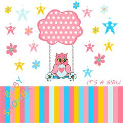 baby girl announcement card - stock illustration