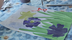 Children painting in kindergarten, close-up Stock Footage