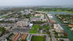 Bay Harbor Islands panoramic aerial video - stock footage