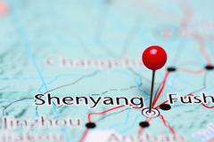 Shenyang pinned on a map of China Stock Photos
