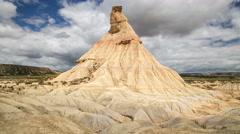 Castil de Terra rock formation Bardenas Reales desert Navarra Northern Spain  Stock Footage