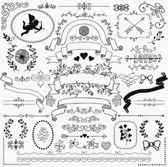 Vector Hand Sketched Rustic Floral Design Elements Stock Illustration