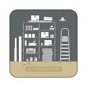 Storeroom interior with metal storage. Piirros