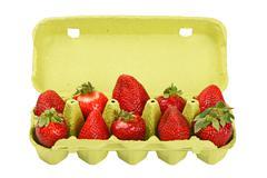 Strawberry in open green egg carrier over white - stock photo