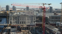 Crane for rebuilding of the town palace at Berlin cent Stock Footage