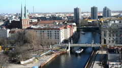 Ship on Spree River at Nikolai district of Berlin Mitte Stock Footage